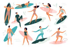 Surfing people. Surfer standing on surf board, surfers on be Product Image 1