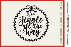 Jingle all the Way with wreath Christmas design- SVG design Product Image 1