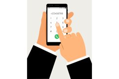Hands with smartphone dialing. Mobile touch screen phone wit Product Image 1