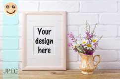 Wooden frame mockup with chamomile and purple flowers in gol Product Image 1