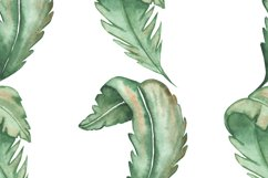 Watercolor tropical green leaves set and pattern Product Image 5