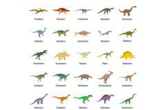 Dinosaur types signed name icons set vector isolated Product Image 1