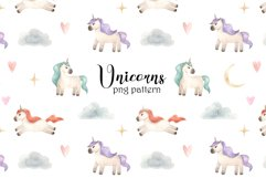 Watercolor Unicorns. Cliparts and Pattern Product Image 4