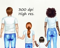 Family watercolor customizible clipart. Product Image 4