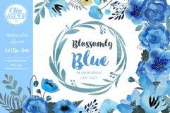 Blue Floral Clip Art, Wedding Watercolor clip art 34 PNG Product Image 1