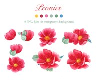 Watercolor Peonies and Blue and Pink Hydrangea Product Image 2