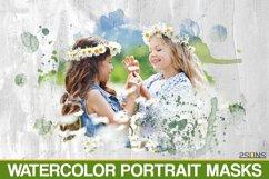 20 Watercolor portrait paint masks, photo frame, Photoshop Product Image 1