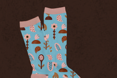 Pattern with abstract flowers, faces, masks Product Image 6