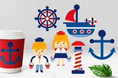 Nautical clipart red blue, sailor, anchor, lighthouse, boat Product Image 1