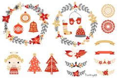 Red and gold Rustic Christmas clipart set with wreaths Product Image 1