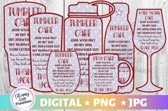 Tumbler Mug Wine Glass Care Cards 7 PACK! Stars! PNG - JPG Product Image 1
