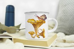 Forest mushroom chanterelle Snail Watercolor sublimation PNG Product Image 1