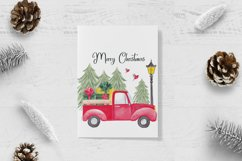 Farm fresh christmas trees, Red old farm car clipart Product Image 5