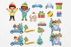 Christmas Cars Boys. Watercolor holiday clipart, vintage Product Image 2
