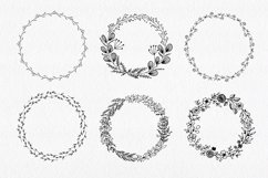 30 Hand drawn floral wreath. Simple line drawing. Product Image 4