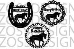 Horse and unicorn Birthday 3 svg cut files Product Image 1