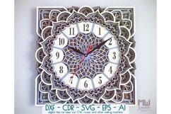 C11 - Wall Clock for Laser cut, Mandala Clock DXF pattern Product Image 1