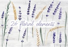 Lavender Watercolor Set Clipart Product Image 4