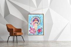 girl and lotuses, mandala, goddess of love,Digital print Product Image 3