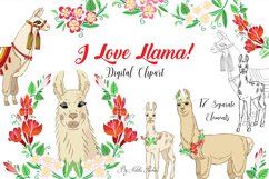 Llama Clipart with red flowers Product Image 1