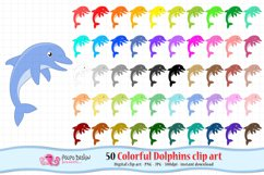Colorful Dolphins clip art Product Image 1