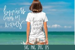 Beach quote SVG cut file. Happiness comes in waves Product Image 1