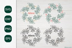 Christmas Wreath SVG graphic, Christmas ornament SVG file Product Image 1
