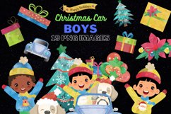 Christmas Cars Boys. Watercolor holiday clipart, vintage Product Image 1
