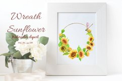 Sunflower bouquet Watercolor clipart, Sunflower wreath. Product Image 5