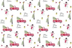 Farm fresh christmas trees digital paper Red old car Snowman Product Image 2