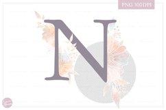MONOGRAM Letter N Elegant Floral Monogram - Flower alphabet Product Image 2