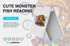 Cute Monster Fish Reading Vector Illustration Product Image 3