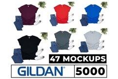 Gildan 5000, 2000, 64000 Mockups 47 Colors Flat Lay White Bg Product Image 1