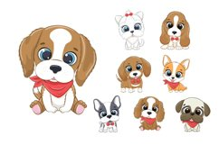 Cute Dog Clipart EPS, PNG, Pets Clipart, 300 DPI Product Image 1