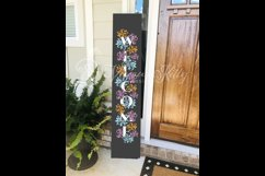 Welcome porch sign stencil svg, spring flowers vertical Product Image 7