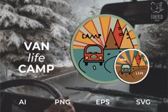 Van life Graphic. Two round logos in doodle style Product Image 2