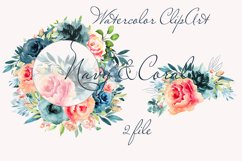Wreath clipart Watercolor Coral Navy Flowers Frame invite Product Image 2