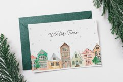Winter Town. Watercolor Cards Product Image 2