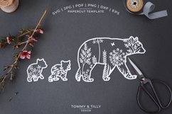 Mama Bear Meadow Animal - Papercut Template SVG EPS DXF P Product Image 1