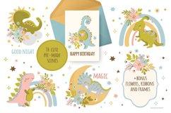 BABY DINO Kid Hand Drawn Flat Design Vector Illustration Set Product Image 4