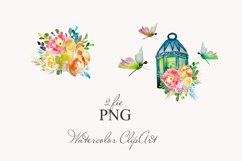 lantern with floral clipart Watercolor for design invite Product Image 2