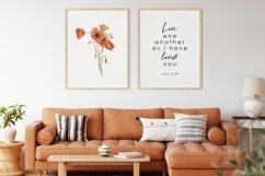 Watercolor Poppy Wall Art, Poppy Wall Print, Bible verse Product Image 1