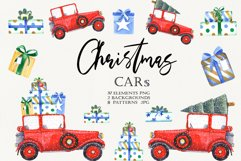 Watercolor Christmas Cars Clipart Product Image 1