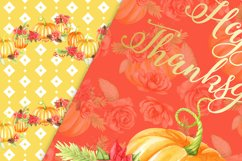 Pumpkins and flowers digital paper pack Product Image 3