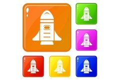Rocket speed icons set vector color Product Image 1