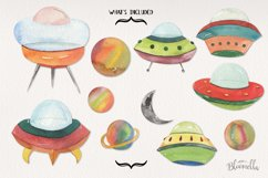 Spaceship Watercolor 11 Elements Space Planets Galaxy Product Image 3