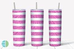 Skinny Tumbler Sublimation Design Pink Animal Print Glitter Product Image 5