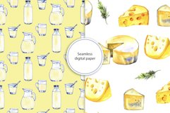 Milk and cheese - watercolor clipart Product Image 4
