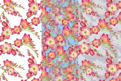 red flowers freesia seamless pattern watercolor Product Image 3