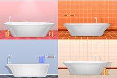 Bathtub interior mockup set, realistic style Product Image 1